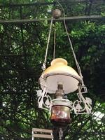 Szecessziós, majolika csillár, lámpa lüszter, magasság állitós, szines 2 szinű búra villanyositott!