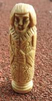 Antik keleti csont figura - csontból faragott miniatúra szobor