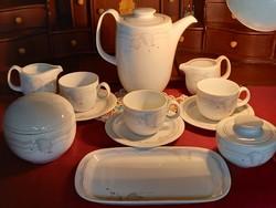 201 Mesés régi Arzberg levélmintás 3 személyes kávés készlet 2-2 cukortartó és tejszínes