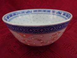 Kínai porcelán rizses tálka kanállal. Felső átmérő 11,5 cm.
