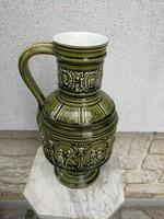 Hatalmas Schütz Cilli kórsó, ónmázas gyönyörű zöld, kiváló. Körben jelenetek. Különleges!