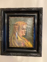 Olaj festmény - Zentai - kendős hölgy