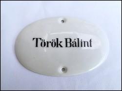 Ritka, kézzel festett Zsolnay porcelán Török Bálint tábla