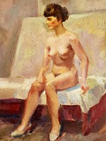 Női Akt festmény olaj/karton