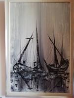 Sara Landeta - olaj, vászon festmény, eredeti keretében, szignózott, hibátlan, 87 cm