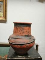 Bod Éva.Kerámia  váza. Kézzel festve barna színű máz. N-45