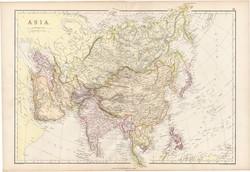 Ázsia térkép 1882, eredeti, Blackie, atlasz, Kína, India, Japán, Tibet, Laos, Siam, Perzsia, Arábia