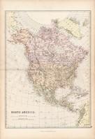Észak - Amerika térkép 1882, eredeti, Blackie, Egyesült Államok, Kanada, Kőzép - Amerika, sziget