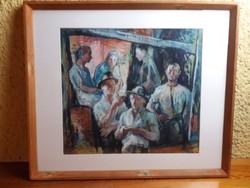 Menyhárt József : Beszélgetők 1948 ( 38X43 cm , olaj ,karton )