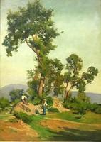 Nádler Róbert (1858 - 1938):Tájkép kirándulókkal,olaj - vászon ,kerettel 74 x 60 cm,ökörszemes keret