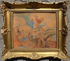 Tardos - Krenner Viktor: hibátlan akvarell, blondell keretben, 48 cm