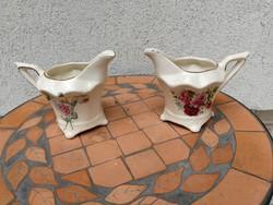 Rózsás tejes kanna 2 db akár kávéhoz is! Kancsó, kiöntő gyönyörű különleges darab.