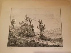 Gross Arnold ritka rézkarca, Jád völgye, fekete fehér változatban