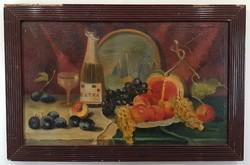 Major szignóval: Gyümölcs csendélet pezsgővel