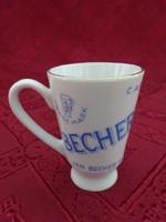 Csehszlovák porcelán likőrös füles pohár, magassága 5,5 cm.