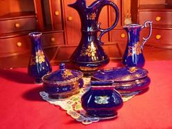 204 6 db Echt cobalt aranyozott porcelán 7-23 cm