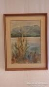 Szarka Hajnalka akvarell tópart