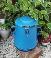 4 literes ritka kék FS Budapest kék zsírosbödön, bödön, paraszti dekoráció