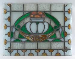 1B072 Szecessziós antik színes ólomüveg 40 x 52 cm