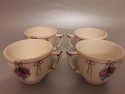 Antik Sarreguemines  Francia jelzett porcelán  bambusz füles kávés csésze