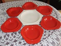 Kerámia, piros, fehér modern étkészlet