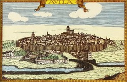 1B182 Avila spanyol város látkép keretezett offset 9 x 14 cm