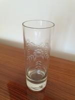 Régi üveg váza csiszolt virágmintás üvegváza