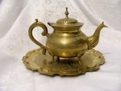 Neobarokk, antik, jelzett, ezüstözött alpakka, négylábú teáskanna, csinos, cizellált tálcával