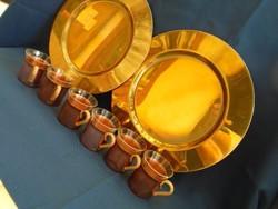 6 személyes kávés készlet rézből hőálló betéttel 2 db nagyméretű réz tálcával igazi masszív darabok