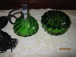 Régi zöld piperés üveg parfüm szóró