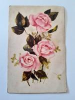 Régi virágos képeslap rózsaszín rózsás levelezőlap