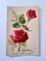 Régi virágos képeslap piros rózsás levelezőlap