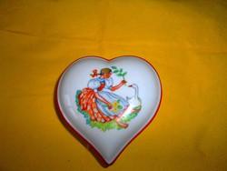 Drasche kézzel festett , szív alakú porcelán ékszertartó, bonbonier-kitűnő állapot