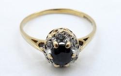 Gyönyörű régi aranygyűrű zafír és gyémánt arany gyűrű 9 k antik