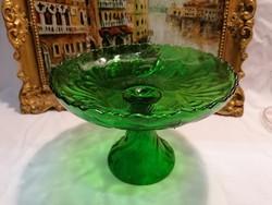 Régi zöld üveg talpas asztalközép gyümölcstartó tál