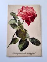 Régi virágos képeslap rózsás levelezőlap