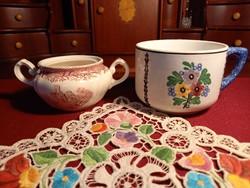 205 2 db Villeroy & Boch porcelán a csésze kézzel festett