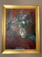 Kakusz Dalma festmény, csendélet, eredeti 1960as évekből, zsűrizett, 60x80