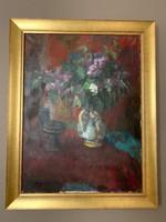 Képcsarnokos :Kakusz Dalma festmény, csendélet, eredeti 1960as évekből, zsűrizett, 60x80