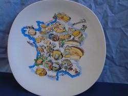 Nagy méretű,  Francia sajt tányér asztalközép hibátlan különleges formavilág  28 x 27,5 cm