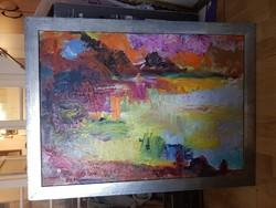 Juhász Erika festménye, olaj, farost, 50x70+keret