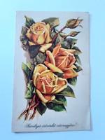 Régi virágos képeslap sárga rózsás levelezőlap