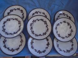 9 db antik fajansz majolika süteményes készlet 1920-30 között készültek nem porcelán kuriózum