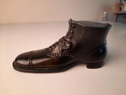 Art Deco cipő formájú ón tintatartó, üvegbetéttel