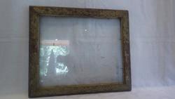 Üvegezett antik fa képkeret , falc 29x35 cm