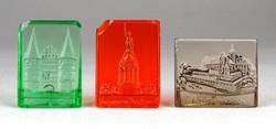 1B199 Régi kisméretű színes üveg emléktárgy 3 darab