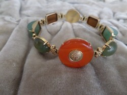 Kínai arany karlánc / karkötő féldrágakövekkel