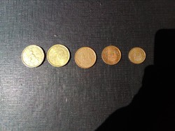 5 db Különböző EURO Cent