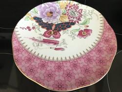 Wedgwood porcelán tányér pillangó és virág mintával, 20 cm átmérő