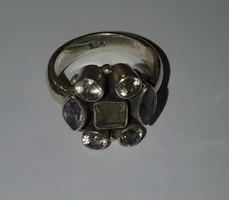 925 ös sterling ezüst gyűrű drágakövekkel 54 méret